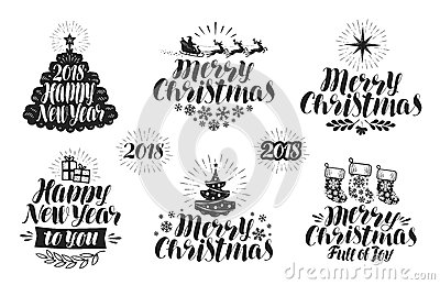 Merry Christmas and Happy New Year, label set. Xmas, holiday icon or logo. Lettering, typographic design vector