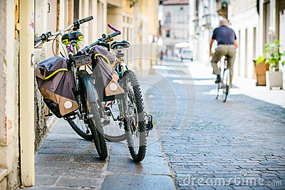 stock image of bicycles in narrow street