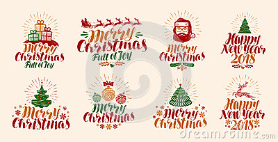 Merry Christmas and Happy New Year, lettering. Xmas, yuletide, holiday label set or icons. Calligraphy vector