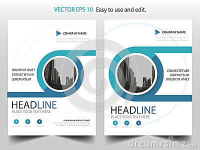 Blue circle annual report Brochure design template vector. Business Flyers infographic magazine poster.Abstract layout template ,