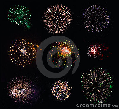 9 isolated fireworks collection