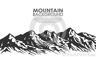 Mountain range silhouette on white.