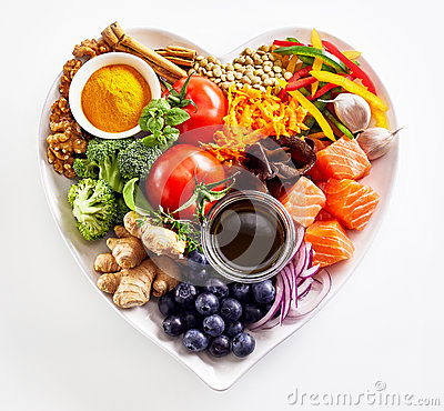 Heart-shaped plate of healthy heart foods