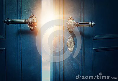 Open blue door