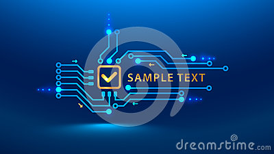 A gold check mark cybersecurity future. Vector illustration electronic print circuit board pcb style