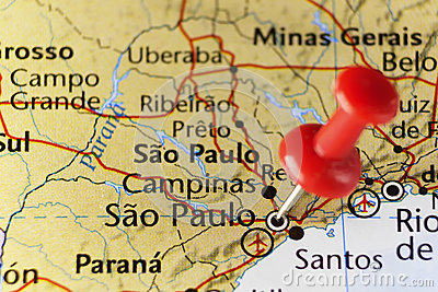 Sao Paulo pinned map, Brazil
