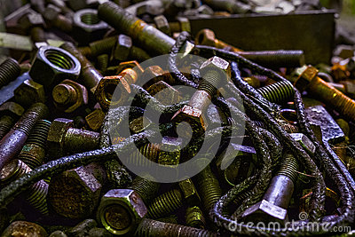 Metal parts and rust.