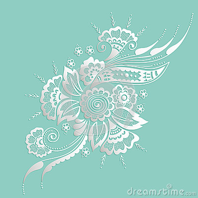 Vector illustration of mehndi ornament. Traditional indian style, ornamental floral elements for henna tattoo