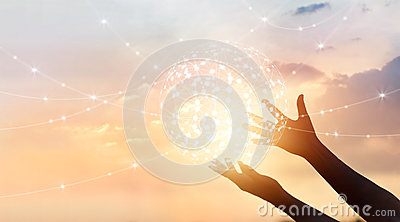 stock image of abstract science, circle global network connection in hands