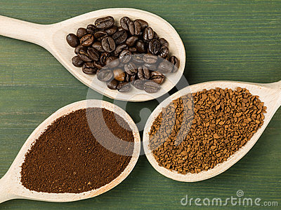 Spoonfuls of Instant Granulated and Roast Coffee Beans