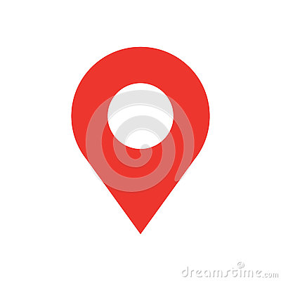 Map pin flat design style modern icon. Simple red pointer minimal vector symbol. Marker sign.