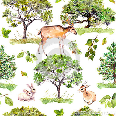 Green trees. Park, forest pattern with forest animals - deer, rabbits, antelope. Seamless repeating background