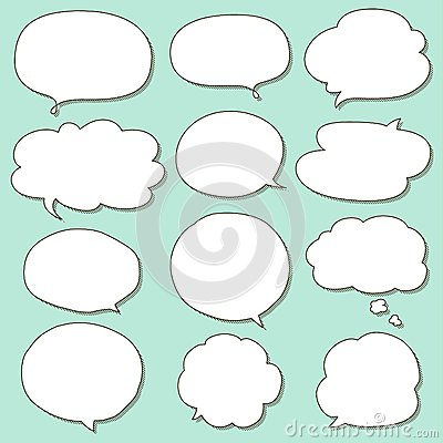 Set of Simple Hand Drawn Speech and Thought Bubbles Doodle