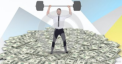 Digital composite image of businessman lifting barbell on money