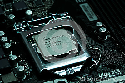 Intel CPU installed on a motherboard