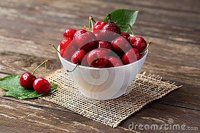 Bowl with red cherries