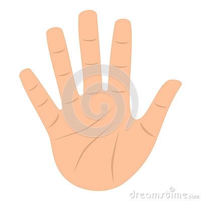 Open Palm Hand Flat Icon Isolated on White