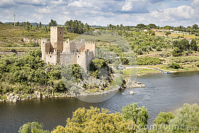 Castle of Almourol in the middle of Tagus River, Vila Nova da Barquinha, district of Santarem, Portugal