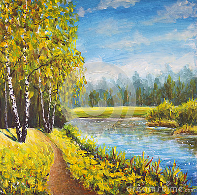 Original oil painting  summer landscape, sunny nature on canvas. Beautiful far forest, rural landscape. Modern impressionism art