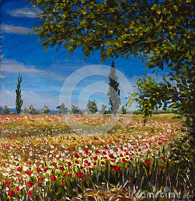 Original oil painting on canvas. Beautiful French landscape, rural landscape Field of red poppies landscape. Modern impressionism
