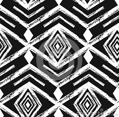 Black tribal Navajo vector seamless pattern with doodle elements. aztec abstract geometric art print. ethnic hipster
