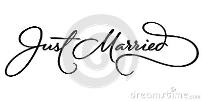 JUST MARRIED hand lettering (vector)