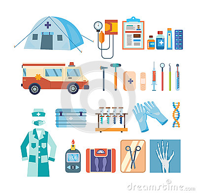 Set of tools for medical research, treatment, work in institution.