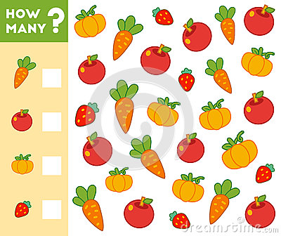 Counting Game for Children. Count how many fruits, vegetables