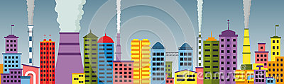 Panoramic view of polluted city seamless pattern.