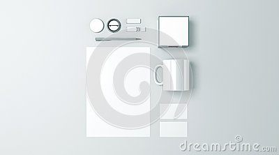 Blank white office stationery set mockup