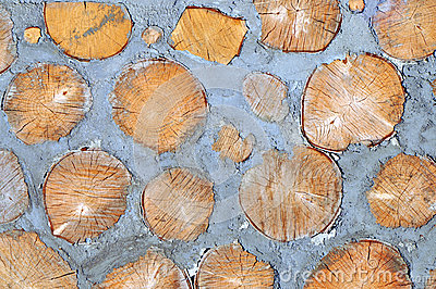 Wood and cement in the wall