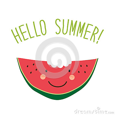Cute card Hello summer as funny hand drawn cartoon character of watermelon