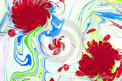 Abstract pattern, Traditional Ebru art. Color ink paint with waves. Floral background.