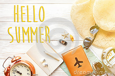 Hello summer text, time to travel concept, space for text. map c