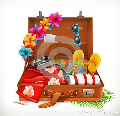 stock image of tropical holidays. summer vacation, open suitcase. vector icon
