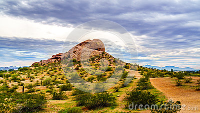 One of the red sandstone buttes of Papago Park near Phoenix Arizona
