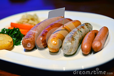 Sausage on a plate.