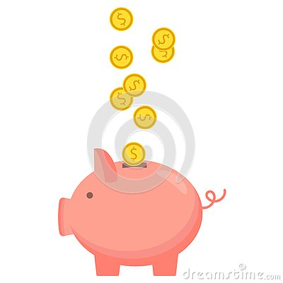 Piggy bank with coin icon, isolated flat style. Concept of money