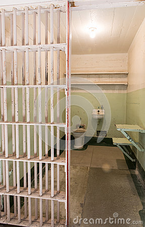 San Francisco, California, United States - April 30, 2017: Prisoner`s cell of Alcatraz prison in Alcatraz Island.