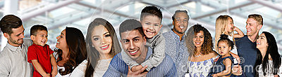stock image of group of families