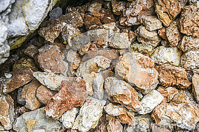 Pile of red and whte stones in a forest, Polish jurrasic.