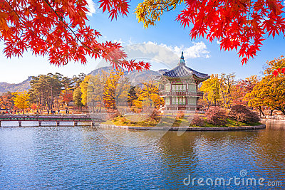 Gyeongbokgung palace with Maple leaves, Seoul, South Korea