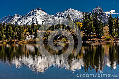 Water reflections with snow capped mountains, San Juan Mountains In Autumn