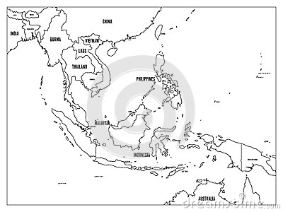 South East Asia Political Map Black Outline On White Background