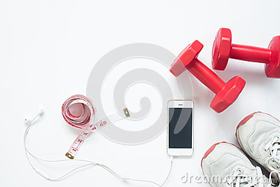 Flat lay of smartphone with measuring tape, red dumbbells
