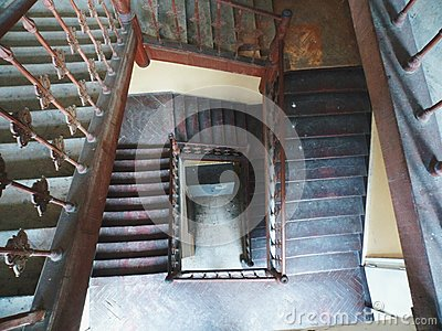 Old wooden staircase in a dwelling house