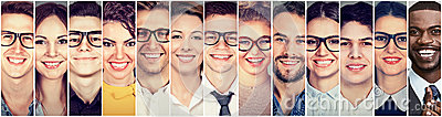 stock image of smiling faces. happy group of multiethnic young people men and women