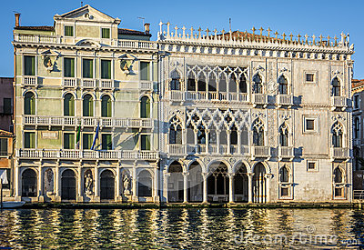 Facade of Ca D`Oro palace on Grand Canal in Venice, Italy