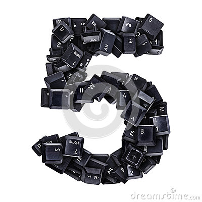 Number 5 made of keyboard buttons