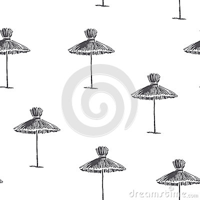 Vector seamless pattern with beach umbrellas. Vintage hand drawn